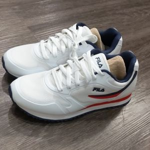 Fila white running shoe